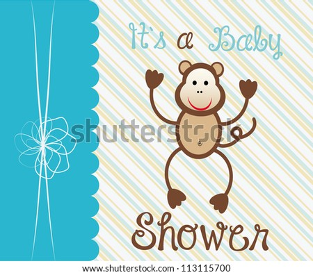 Baby arrival card with funny animals/ Vector illustration