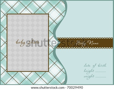 Baby Arrival Card with Photo Frame - stock vector