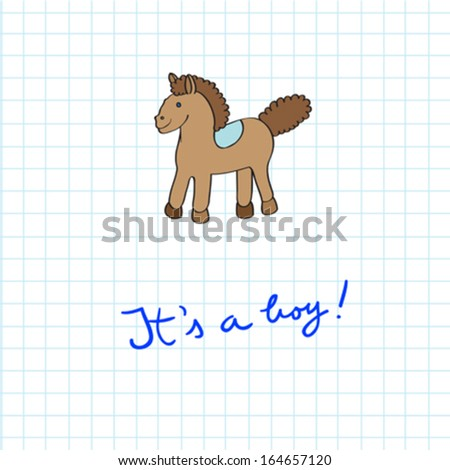 Baby arrival card with toy horse cartoon over a math paper pattern with blue hand drawn text - stock vector