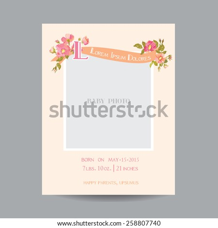 Baby Arrival or Shower Card - with Photo Frame and Floral Blossom Design - in vector