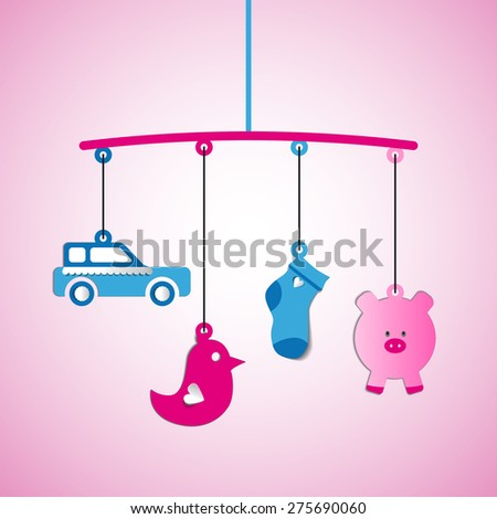 Baby arrival, papercut toys hanging, shower card, born baby - stock vector