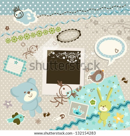baby background, scrapbook set with cute elements