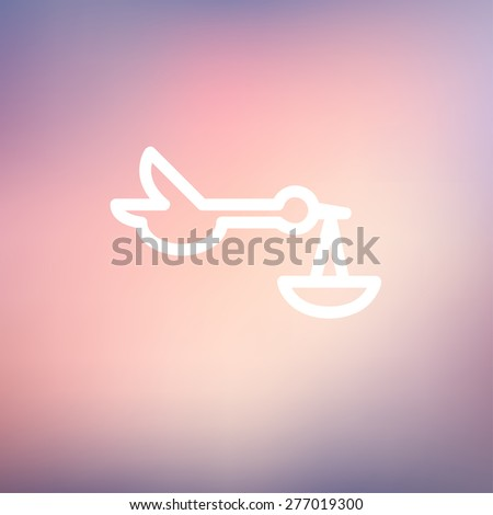 Baby basket and stork icon thin line for web and mobile, modern minimalistic flat design. Vector white icon on gradient mesh background. - stock vector