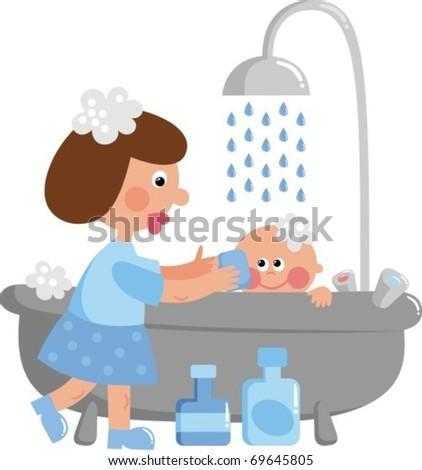 Baby bathing - stock vector
