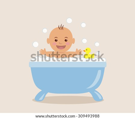 Baby bathing in the bath with foam. - stock vector