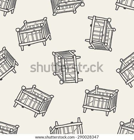 baby bed doodle seamless pattern background