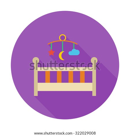 Baby bed icon. Flat vector related icon with long shadow for web and mobile applications. It can be used as - logo, pictogram, icon, infographic element. Vector Illustration. - stock vector