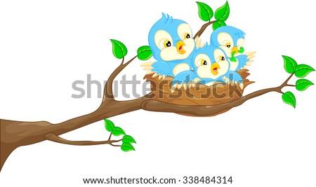 baby bird in the nest - stock vector
