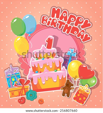 Baby birthday card with teddy bear, big cake and gift boxes. One year anniversary - stock vector
