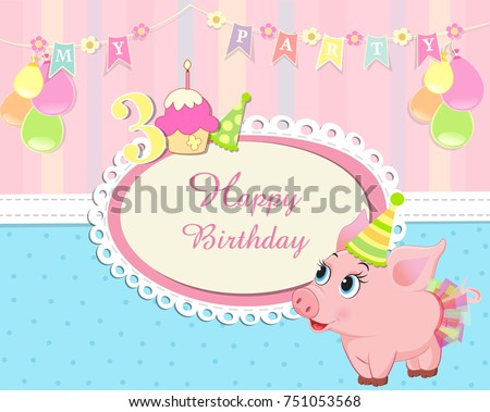 baby birthday invitation with cute piglet wearing birthday hat