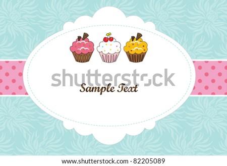 Baby blue invitation card - stock vector