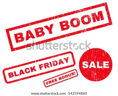 Baby Boom rubber seal stamp watermark with additional design elements for Black Friday offers. Vector red stickers. Tag inside rectangular shape with grunge design and dust texture.