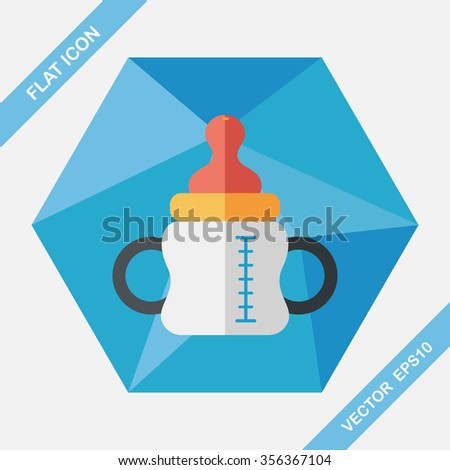 Baby bottle flat icon with long shadow,eps10 - stock vector
