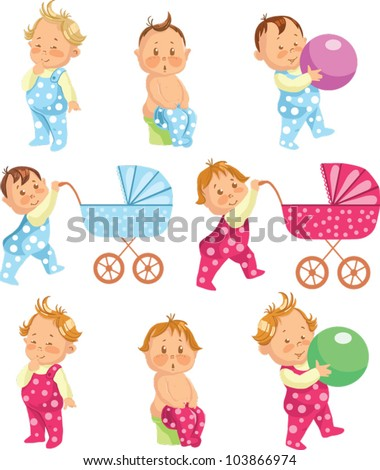 baby boy and baby girl - stock vector