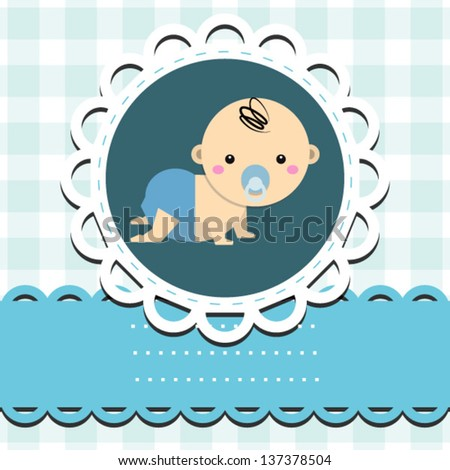 baby boy announcement card. vector illustration