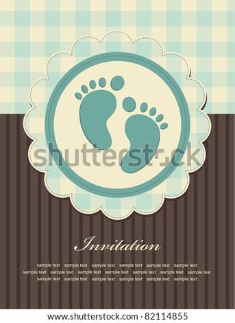 baby boy announcement card. vector illustration - stock vector