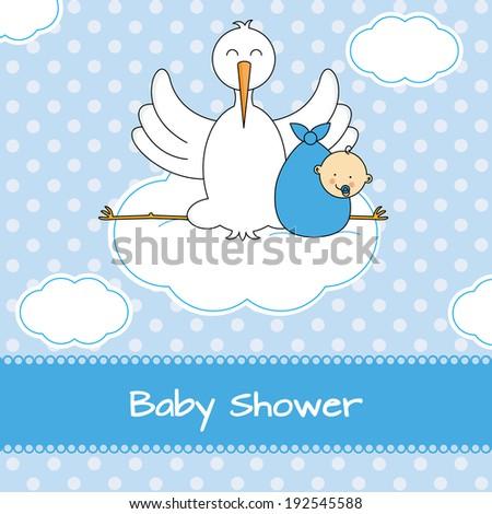 Baby boy arrival announcement card - stock vector