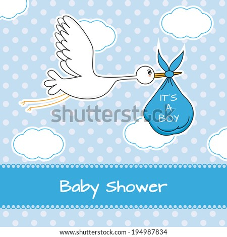Baby boy arrival announcement card - stock vector