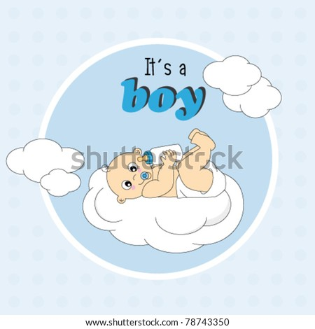Baby boy arrival announcement card. baby lying on a cloud - stock vector