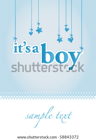Baby boy arrival announcement card. Perfect as a template. - stock vector
