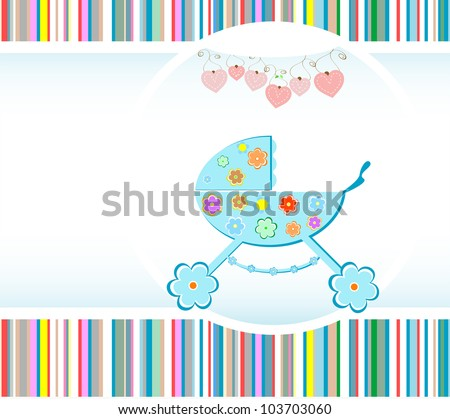 Baby boy arrival announcement card. vector illustration