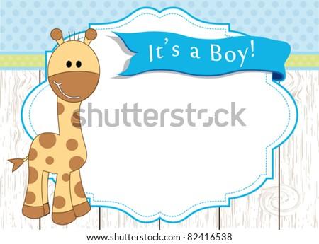 Baby boy arrival announcement giraffe card - stock vector