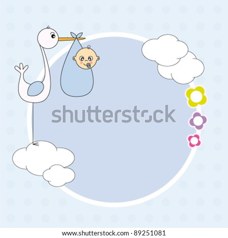 Baby boy arrival announcement. Stork with a baby - stock vector