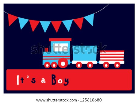 baby boy arrival card - stock vector