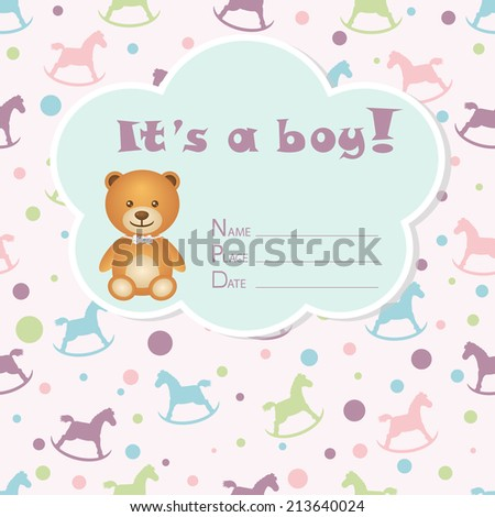 Baby boy arrival card. Baby shower card. Newborn baby card with bear and rocking horses. Vector illustration. The text is drawn, the text can be removed.  - stock vector