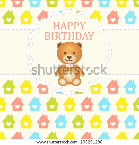 Baby boy arrival card. Baby shower card. Newborn baby card with teddy bear and background with colorful houses. Vector illustration. The text is drawn, the text can be removed. - stock vector