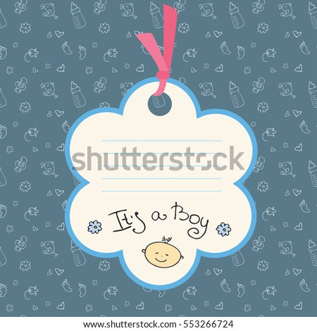Baby boy arrival card or shower card. Place for text. Stock vector illustration