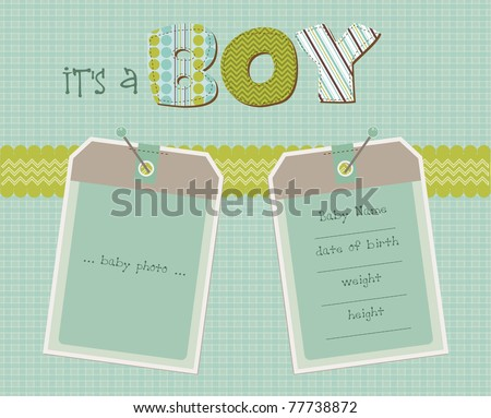 Baby Boy Arrival Card with Photo Frame in vector - stock vector