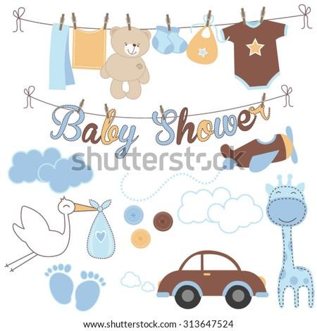 Baby boy baby shower elements - stock vector