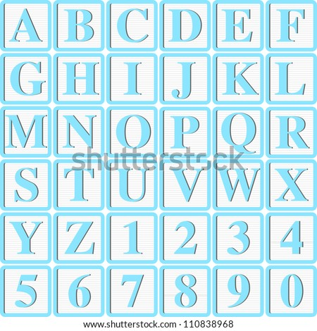 Baby Boy Blue Block letters for Invitations, Cards or Announcements - stock vector