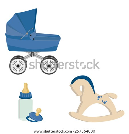 Baby boy blue perambulator, bottle, nipple and rocking horse vector icon set - stock vector
