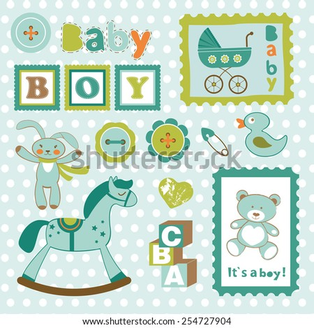 Baby boy card stamps cute collection. vector illustration - stock vector