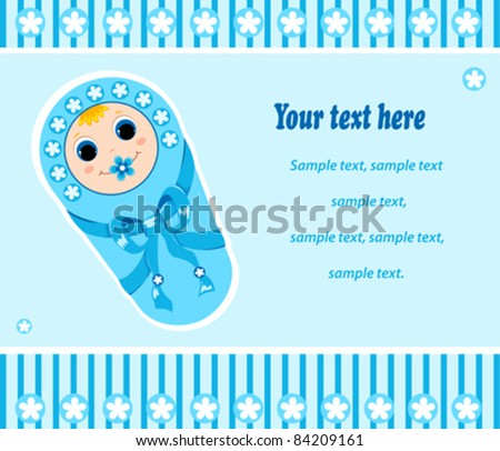 Baby boy card. Vector illustration. Isolated on white. - stock vector