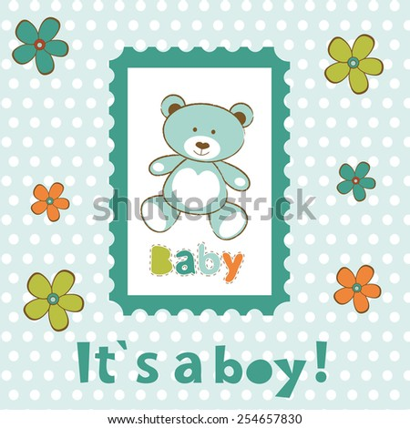 Baby boy card with cute teddy bear in frame. vector illustration - stock vector