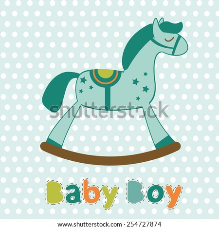 Baby boy card with rocking horse. Vector illustration - stock vector