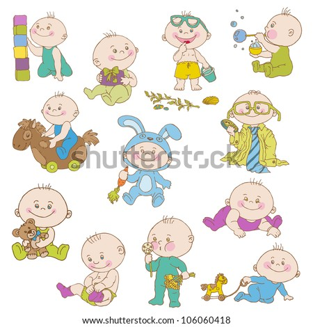 Baby Boy Doodle Set - for design, scrapbook, shower or arrival cards - in vector - stock vector