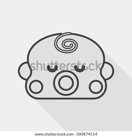 baby boy flat icon with long shadow, line icon - stock vector