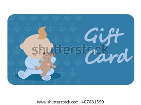 Baby Boy Gift Card Baby Shower Stock Vector 407631550 Shutterstock