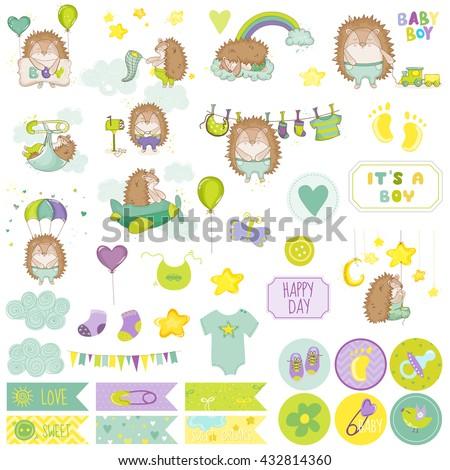 Baby Boy Hedgehog Scrapbook Set. Vector Scrapbooking. Decorative Elements. Baby Tags. Baby Labels. Stickers. Notes. - stock vector