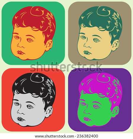 Baby Boy Icons - stock vector