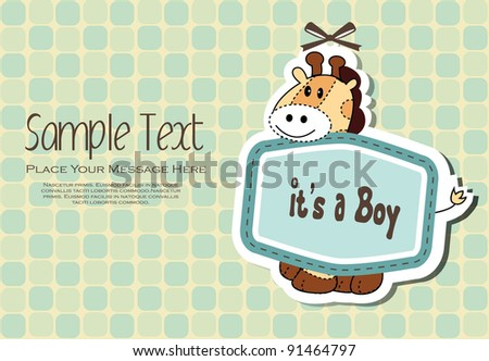 Baby Boy Invitation Card - stock vector