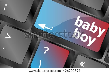 baby boy message on keyboard enter key vector, keyboard keys, keyboard button - stock vector