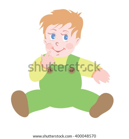 Baby boy on isolated white background - stock vector