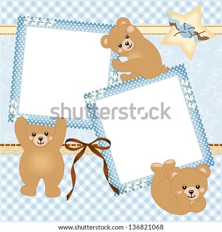Baby boy photo frame with teddy bear - stock vector