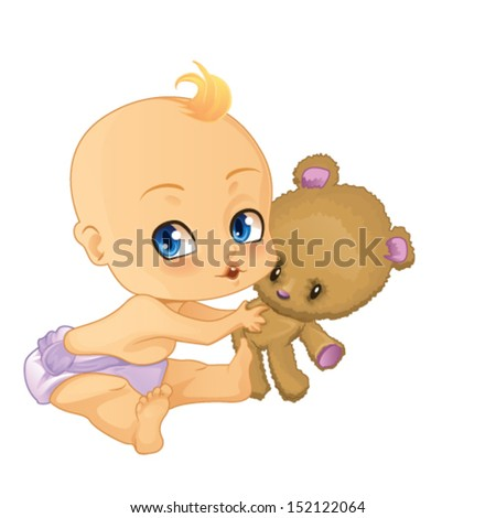 Baby Boy playing with Teddy Bear - stock vector