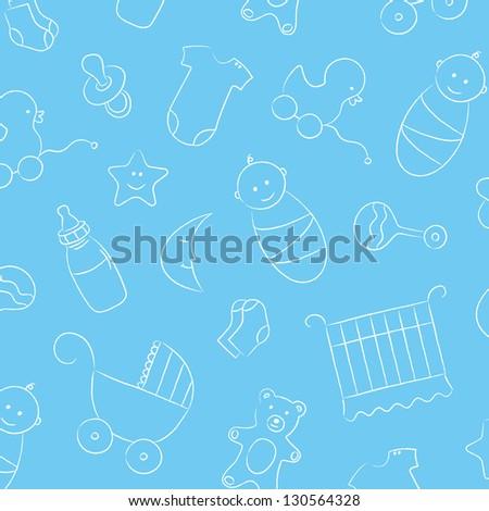 Baby boy, rattle, pacifier, baby milk bottle, duck toy, bear toy, stroller, star, moon, socks, one piece bodysuit. - stock vector